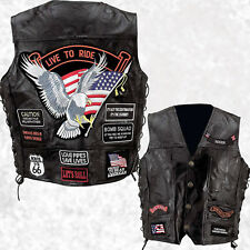 Biker Vest Patches >> Mens Leather Biker Motorcycle Harley Rider Chopper Vest 14 Patches