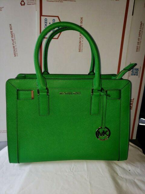 Michael Kors Dillon Top Zip Satchel Medium Saffiano Leather Bag Palm Green