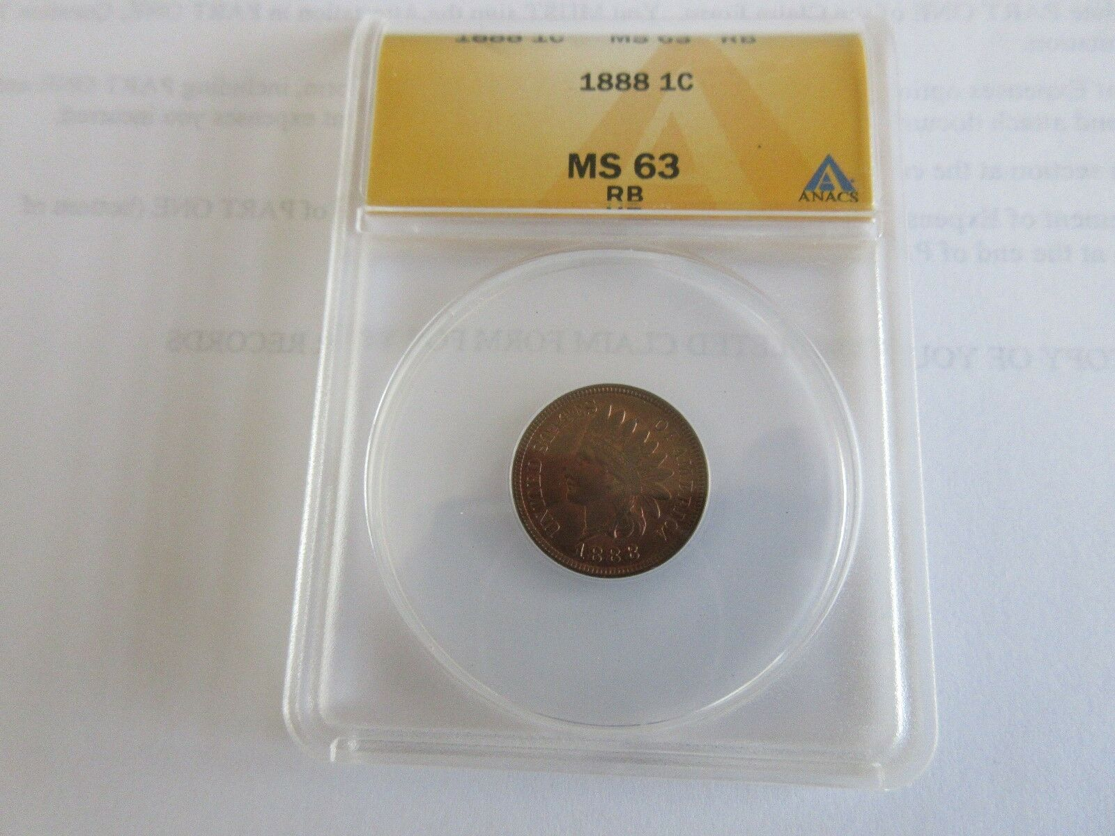 1888 , Indian Head Cent , ANACS , MS 63 , RB