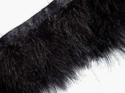 F460 ( 32 Feet ) Black Turkey Marabou Hackle Fluffy Feather Fringe Trim