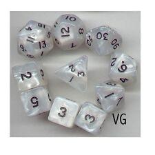 RPG Dice 10pc - Pearl White  - 1 @ D4 D8 D10 D12 D20 D00-10 & 4 D6
