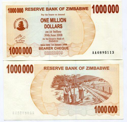1 MILLION DOLAR  UNC P53 2008 ZIMBABWE p 53