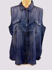 Buffalo David Bitton Women's Sleeveless Button Down Tank XL D.Denim #1044708 73G