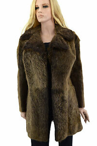 1-650-Marron-Castor-fourrure-femme-manteau-veste-taille-M