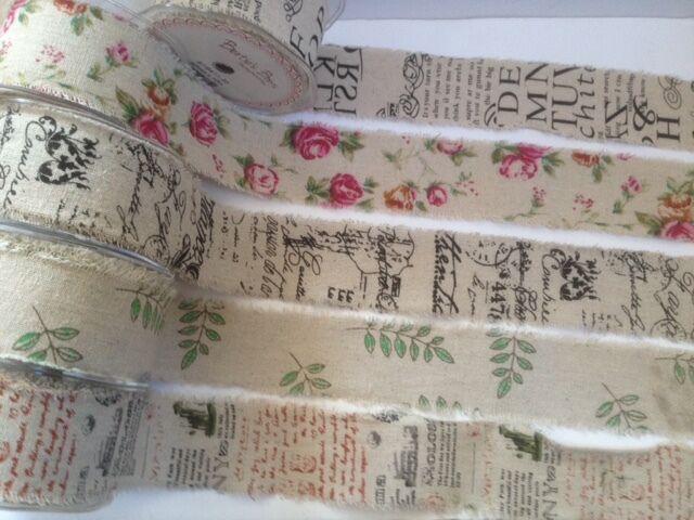 Bertie's Bows Printed Burlap Natural Ribbon Weddings - various designs / lengths