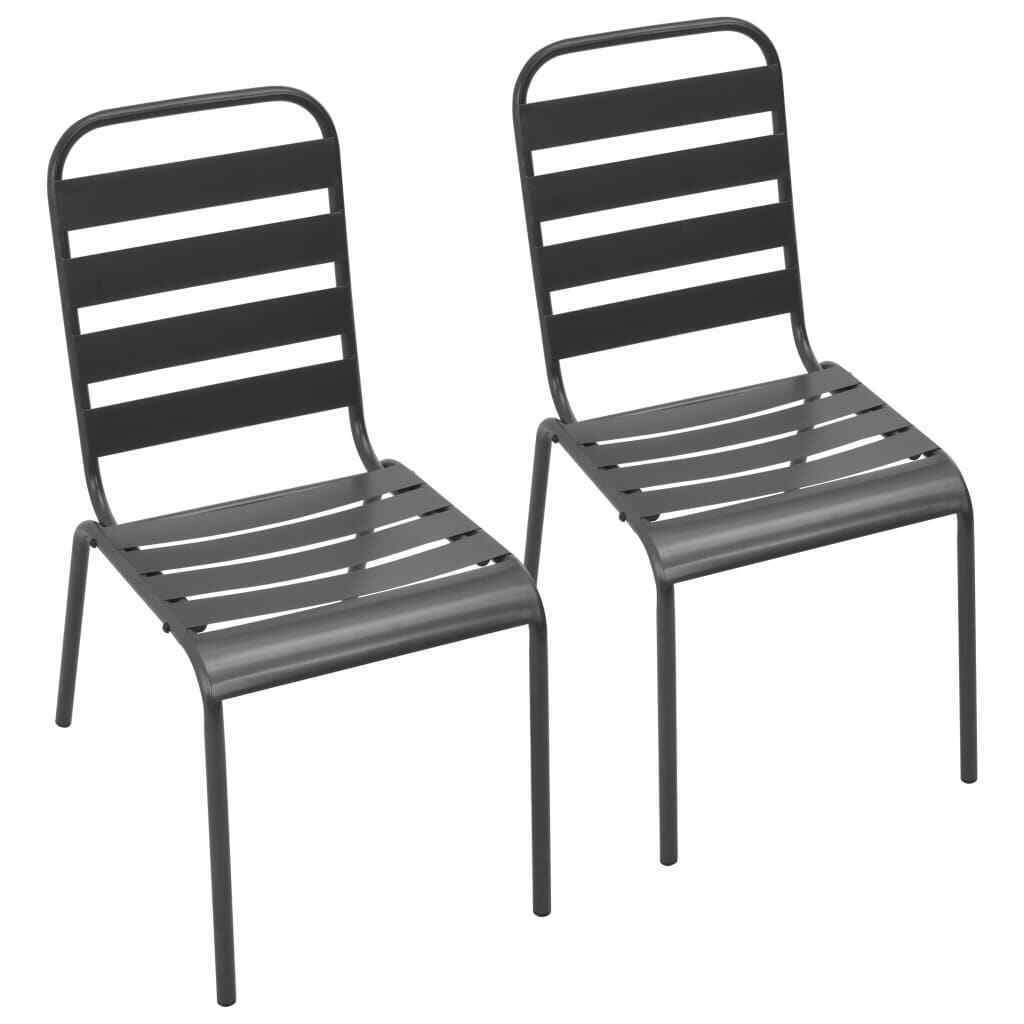 Details About 2x Outdoor Stacking Dining Chairs Steel Dark Gray Slatted Garden Seat
