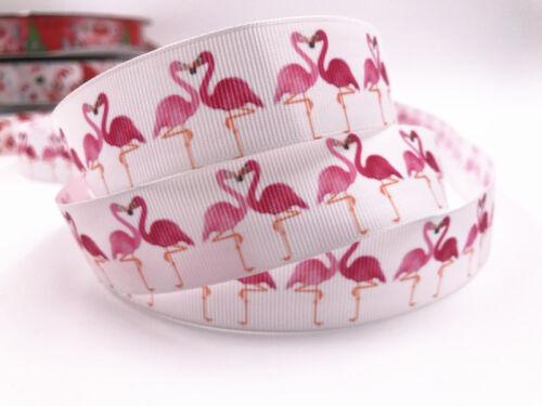 Hágalo usted mismo de 5-10 yarda 1/'/'25MM Flamingo Estampado de Cinta de Grogrén Cabello Moño Cinta De Costura