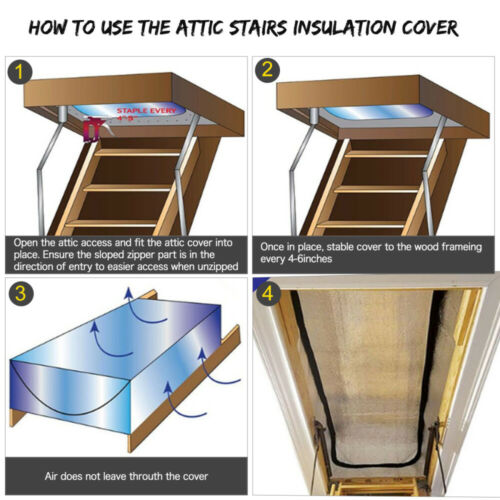 "Smart Attic Door-Attic Tent Insulation Cover Attic Stairs Tent Seal 25/""x54/""x11/"""