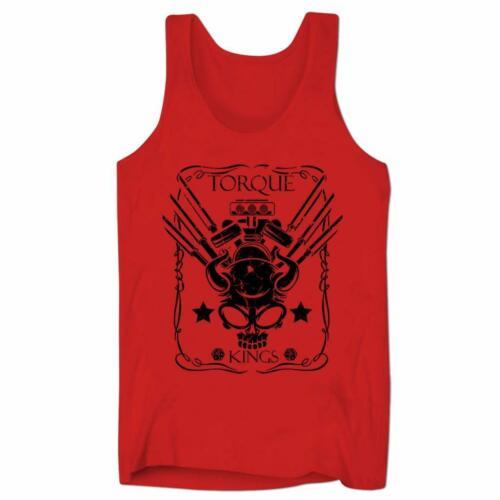 Torque Kings Skull Hot Rod Roadsters Car Motorbike Vintage Mens Low Cut Vest #11