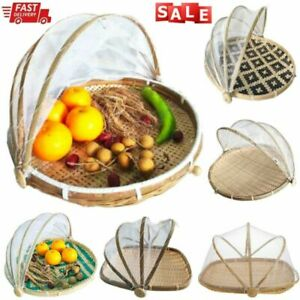 Foldable-Bamboo-Basket-Mosquito-Dustpan-Food-Fruit-Storage-Tray-Dustproof-Cover