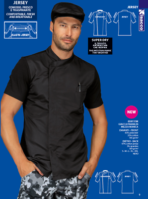 Men's Clothing Clothing, Shoes & Accessories Chef Jacket Chef M/m Franklin Cotton Blend Elastic Jersey Black Isacco Jacket