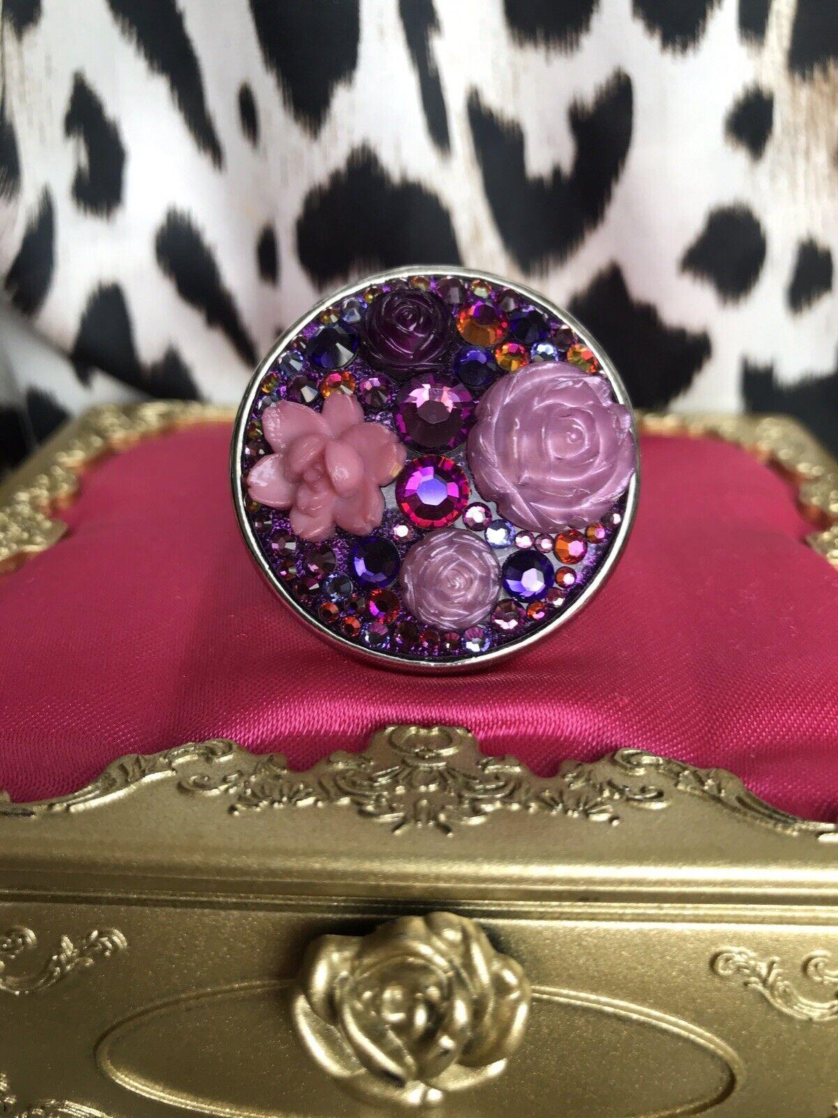 Tarina Tarantino HUGE Vintage Magic Hour Purple pink Volcano Swarovski Ring
