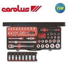"""Carolus 77pc 1/2 & 1/4"""" Drive Slim Sixty Metric Socket Wrench & Bit Set 5544.550"""