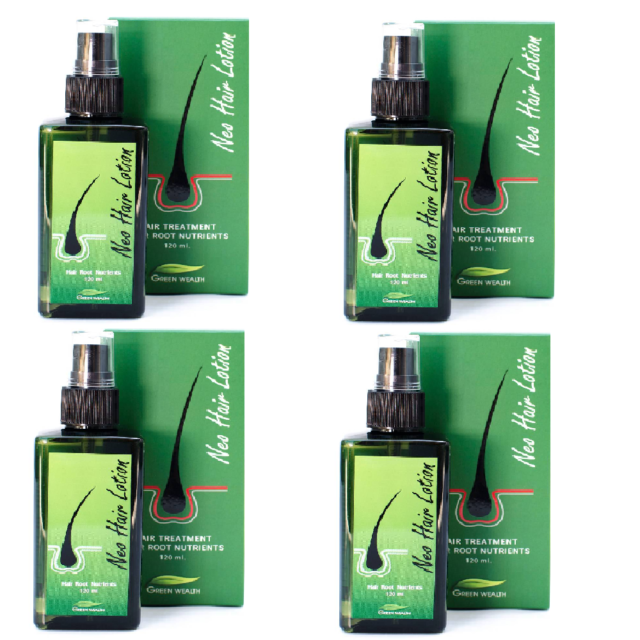 Neo Hair Lotion Hair Loss Treatment Root Nutrients Green Wealth 120 ml. x 4 box