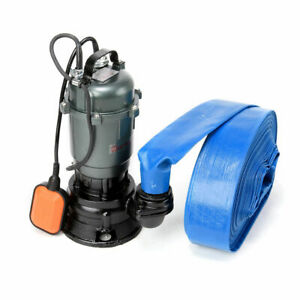 Flood Water Submersible Sewage Drain Septic Sump Cesspool Grinding Pump 20m Hose