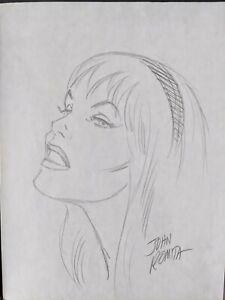 Marvel Spiderman Gwen Stacey original sketch by John Romita sr