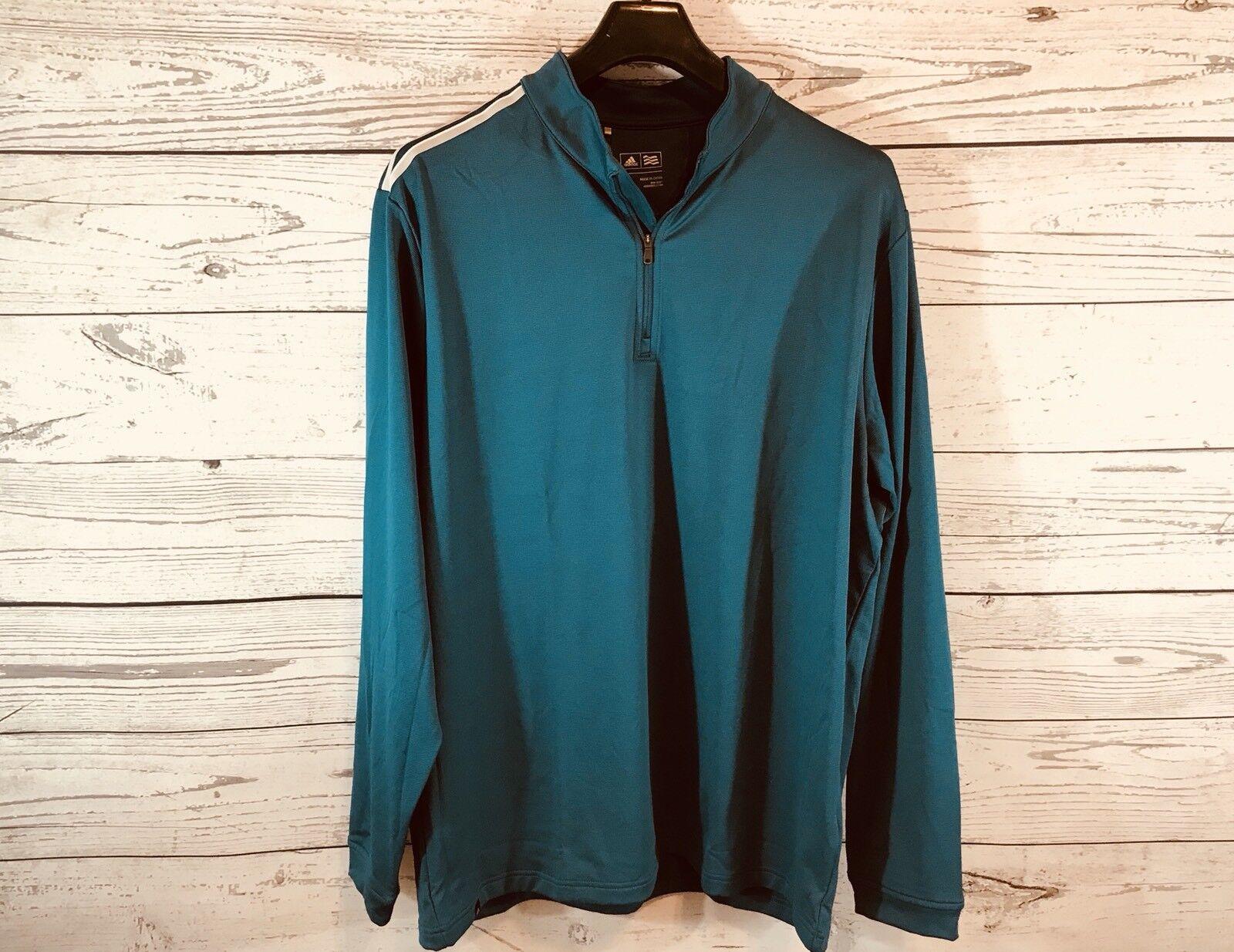 Adidas Hommes Bleu Clair 1/4 Zip Pull De Golf Bleu À Manches Longues Taille Grand TN-O