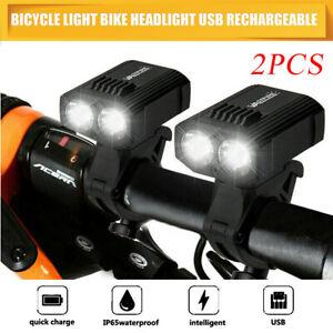 2X 15000LMT6 LED Rechargeable VTTVélo Nuit Lumière Bicyclette Avant Phare  USB