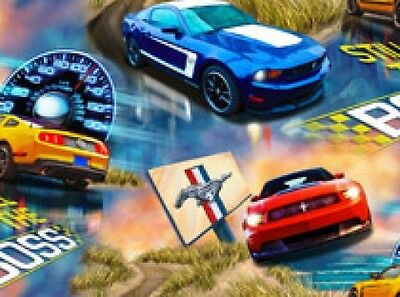 FORD MOTOR CAR COTTON FABRIC-FORD BOSS MUSTANG COTTON FABRIC-1103C-FORD COTTON