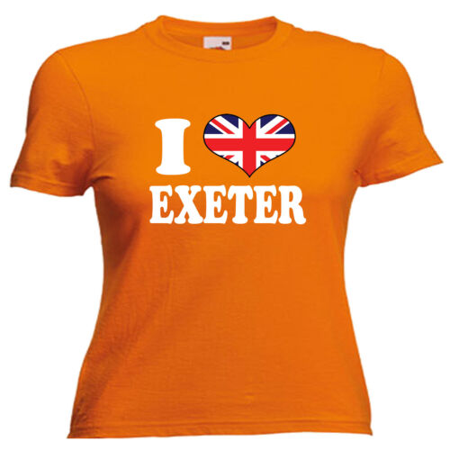I Love Heart Exeter Ladies Lady Fit T Shirt 13 Colours Size 6-16