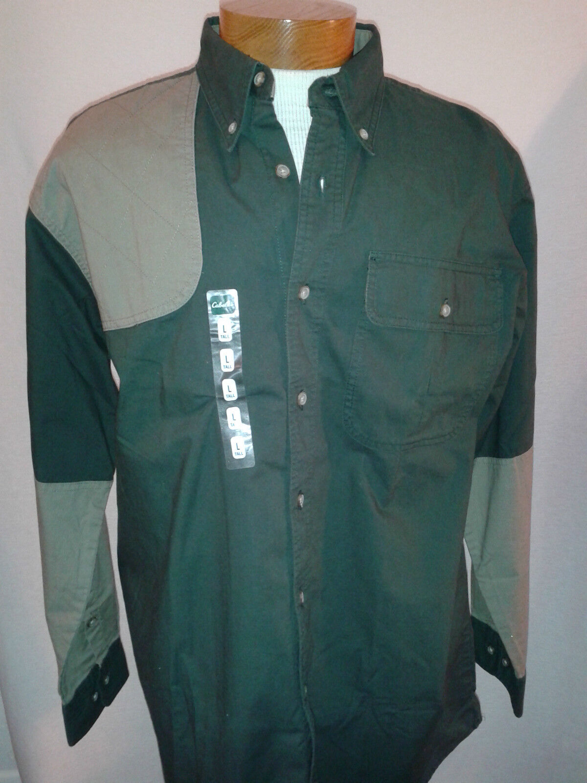 NWT Cabelas Outdoor Gear Men's Cotton Green Hunting Button Down Shirt  L TALL