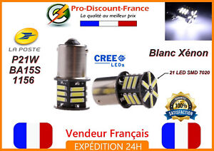 2-x-ampoule-LED-BA15S-1156-P21W-BLANC-XENON-VOITURE-Feux-Recul-Jour-SMD-7020
