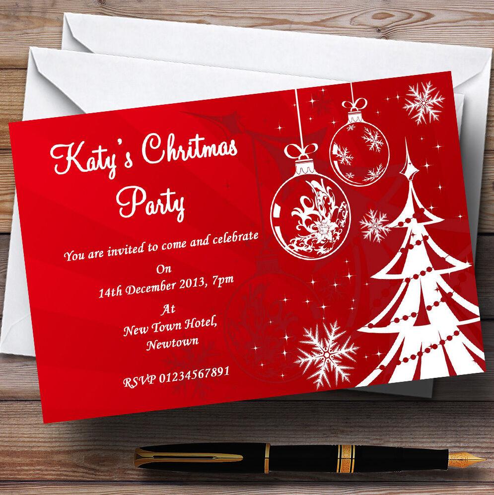 rot Xmas Tree Personalised Christmas Party Invitations