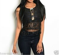 Ladies Sheer Black Lace Fringe Top Htc-t1579