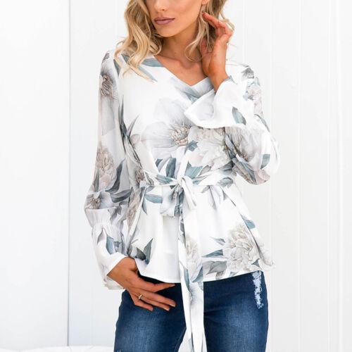 Damen V-Ausschnitt Langarm Oberteile Geblümt Bluse Freizeit Schnüren T-Shirt