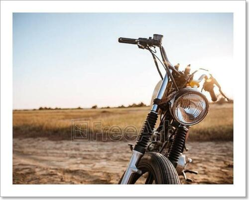 Close-Up View On Retro Motorcycle Art Print Home Decor Wall Art Poster I