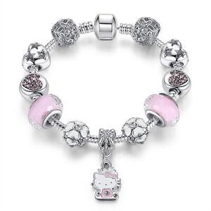 Hello-Kitty-Bracelet-Pink-Crystal-Beads-Charm-bracelets-High-Quality-FREE-SHIP