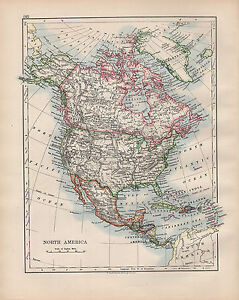 1902 MAP ~ NORTH AMERICA CANADA UNITED STATES MEXICO WEST INDIES ...