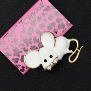 Betsey-Johnson-Lovely-Enamel-Crystal-Little-Mouse-Charm-Animal-Brooch-Pin-Gift