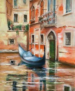 paysage canal Venise tableau peinture huile