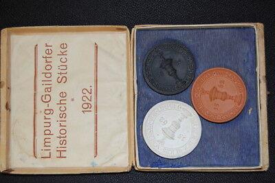 3 Porzellanmedaillen Limpurg-gaildorfer Historische Stücke 1922 31430 Jahre Lang StöRungsfreien Service GewäHrleisten