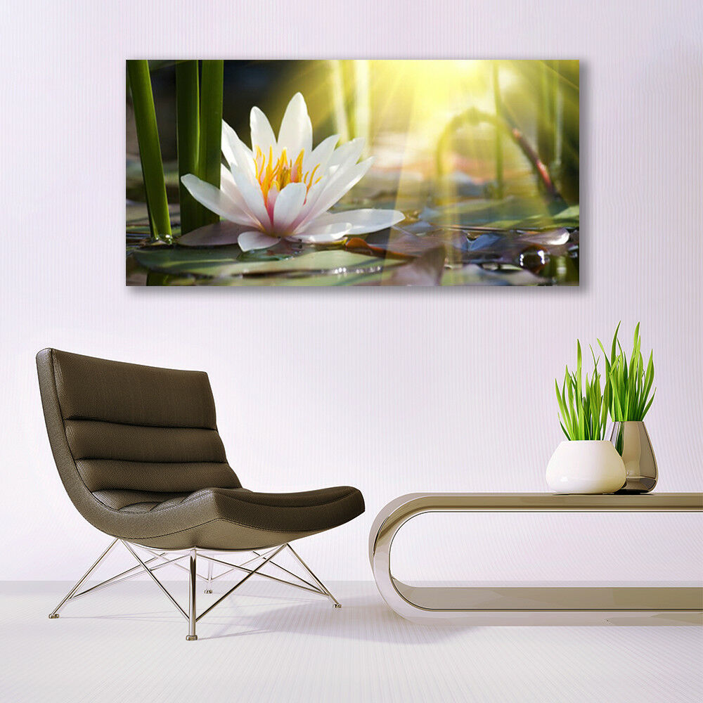 Canvas print Wall art on 140x70 Image Picture Picture Picture Flowers Water Floral 974775