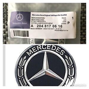DéTerminé Mercedes-benz Noir Couronne Plat Bonnet Badge Emblème A2228170415 Neuf 57 Mm-afficher Le Titre D'origine