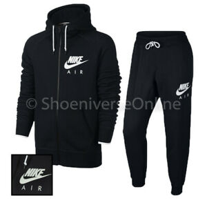 Herren Nike Air SPORTSWEAR aw77 Slim Fit Full Zip Trainingsanzug Set schwarz Fleece