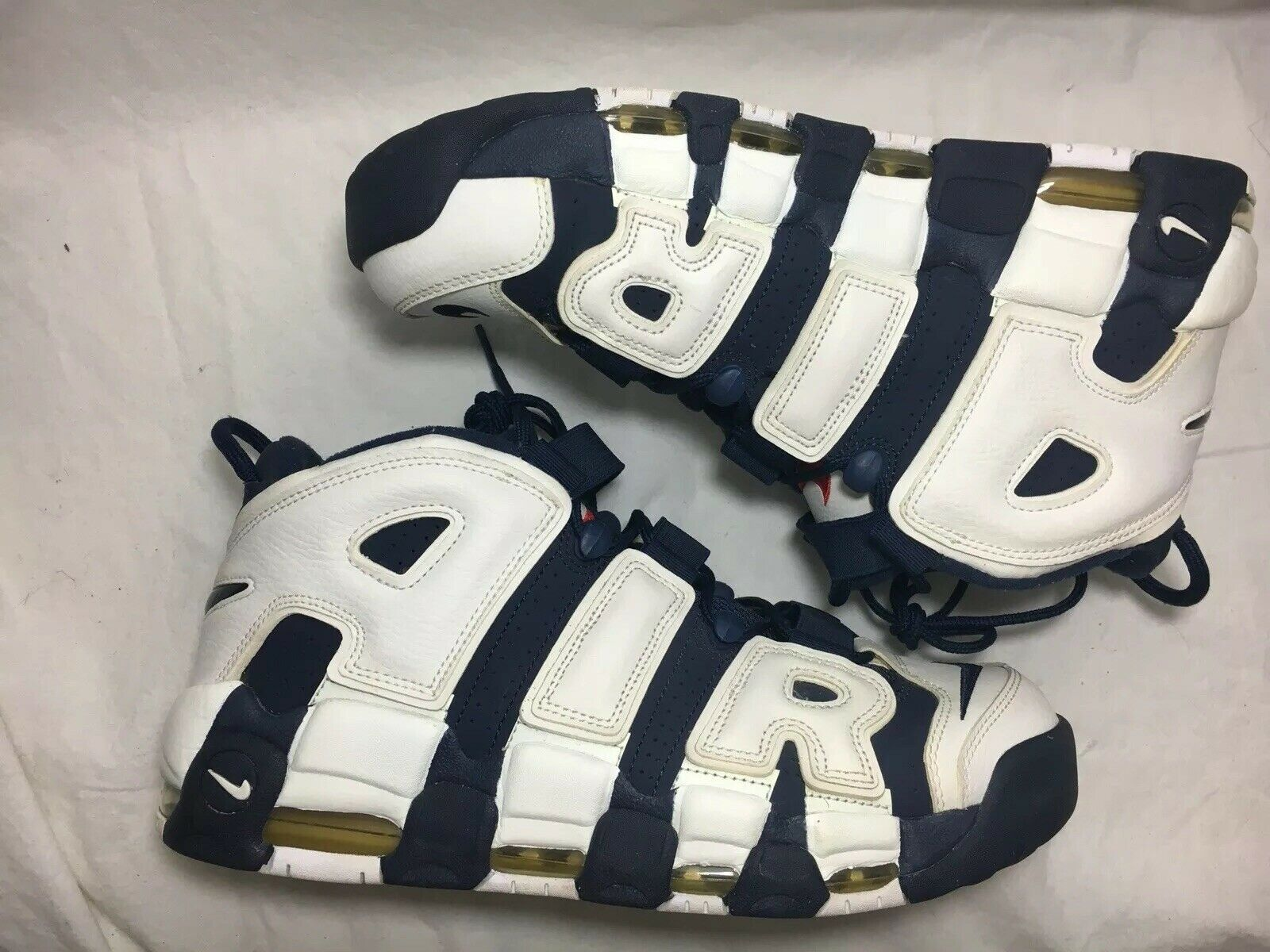 Nike Air More Uptempo Scottie Pippen White Navy bluee bluee bluee Red 414962-104 Men's Sz 10 3278a9