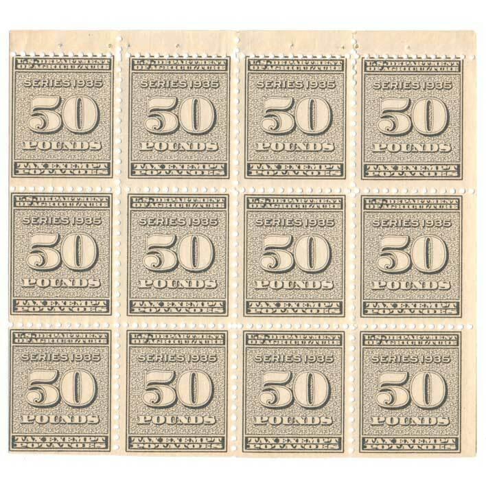 RI18a Potato Revenue stamps, 50lbs, series 1935, pane o