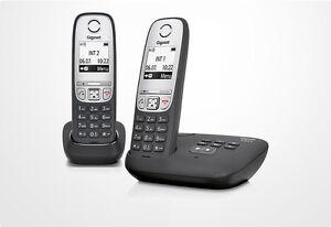 Siemens-Gigaset-A415A-Duo-A-415-A-Duo-analog-schnurlos-Telefon-mit-AB-schwarz