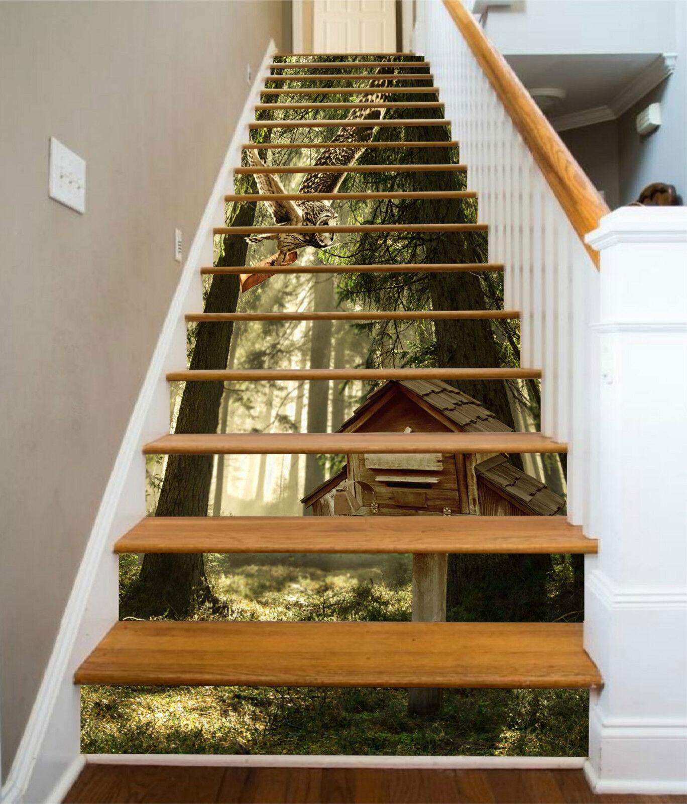 3D Wald Baumhaus 31 Stair Risers Dekoration Fototapete Vinyl Aufkleber Tapete DE
