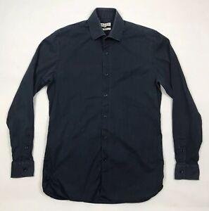 Reiss-Mens-Long-Sleeve-Shirt-Medium-Slim-Fit-Navy-Blue-Zinc-Cotton