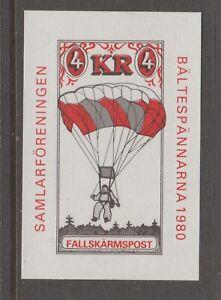 Sweden-Falsharmspost-1980-hidden-gum-mnh-8-27-7-cinderella-stamp-Parachute-post