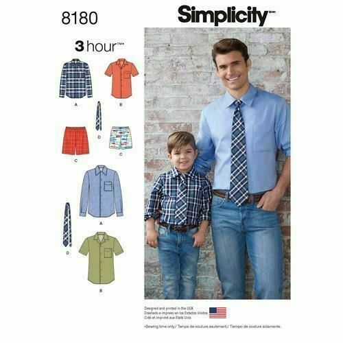 Simplicity Sewing Pattern 8180 Boys Mens Shirt Boxer Shorts Tie Size S-XL Uncut