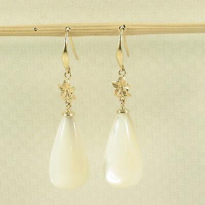 14k Solid Gold Hawaiian Plumeria Sets Raindrop Lavender Jade Hook Earrings TPJ