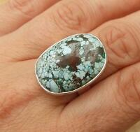GENUINE TURQUOISE 925 SILVER RING SIZE P-US 7 3/4 INDIAN JEWELLERY