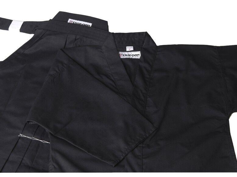 Gi und Hakama Set schwarz aus Tetron für Kendo Iaido Aikido