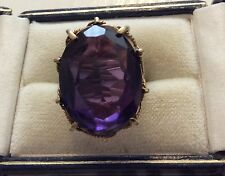 Fabulous Ladies Big Substantial Vintage 9ct Gold Huge Synthetic Alexandrite Ring