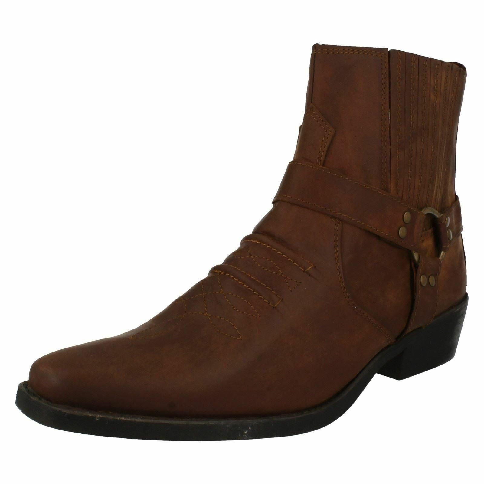 Maverick A3r003 Hombre Marrón Claro 100% Piel Pala Vaquero botas
